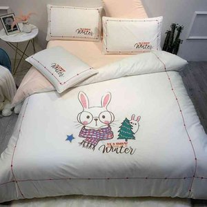 Lovely Pig Rabbit Twin Queen size Cotton Girls Cute White Pink Bedding Set Duvet Cover Bed Sheet Pillow shams