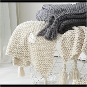 Blankets Tassel Knitted Wool Office Air Conditioner Lunch Break Cover Sofa Home Leisure Blanket Yl10 201113 9Op Ikwvp