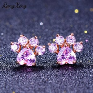 RongXing Cute Animal Footprint Stud Earrings For Women Pink Heart Stone Rose Gold Filled Cat Dog Bear Zircon Birthstone Gift