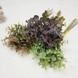 Fork bouquet Eucalyptus Money Leaf Simulation European Diy Artificial Green Plant Fake Flower Material Decorations Decorative Flowers & Wrea