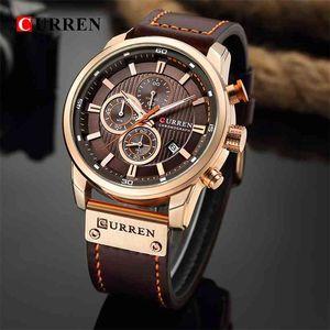 Curren Fecha de cuarzo Relojes de los hombres de cuarzo de la marca de lujo de lujo reloj cronógrafo deporte para hombre reloj de pulsera hodinky relogio masculino 210407