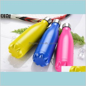 Drinkware Kitchen Dining Bar Home Garden Bottles Insulated Double Wall Vacuum Stainless Steel Water Bottle Mugs 500Ml Cola Shape Cups