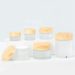 Frosted Glass Jar cream bottle Storage Boxes with imitation wooden lids 5G 10G 15G 30G OWB6265