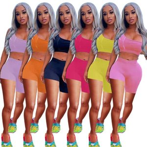 Оптовые женские трексуиты шорты наряды двух частей набор без рукавов Top Sportswear женские брюки костюмы 2021