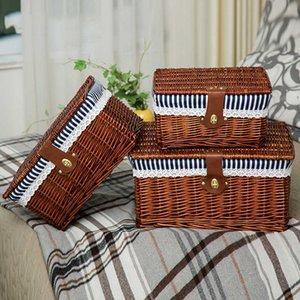 الإبداعية الخيزران المنسوجة سلة تخزين مع غطاء قفل الملابس أشتات لعبة مربع المنظم الخوص المواد-66819 210609