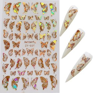 1pc Nail Art Laser Gold and Silver Butterfly Sticker Spring Summer Butterfly Designs Manicure