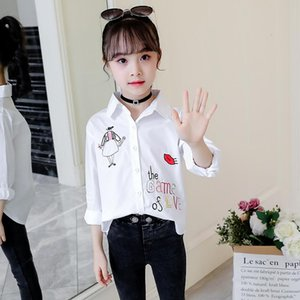 Shirts Children Long Sleeve Shirt Cotton Girls Blouse Cartoon Cat White Teenage School Girl Clothes 8 To 12 Bottom Tops