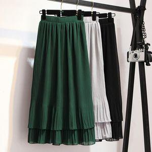 Skirts Women Chiffon Pleated Skirt Vintage High Waist Womens Saia Long Rokken 2021 Summer Style Jupe Femme Ruffles