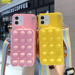 Bags Pop Case For Bubble Toys Cover for iPhone 11 12 Pro X Xs Max XR 6 6s 7 8 Plus SE 2020 Rainbow Beans