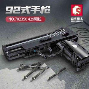 Senbao 702350 gun god can fire 92 pistol model children's assembled building block toy boy's gift