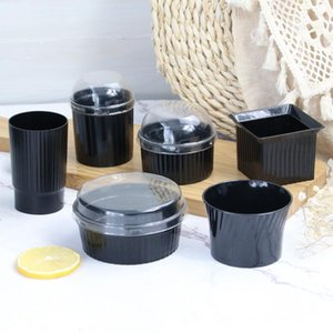 Disposable Cups & Straws 50pcs Creative Cake Cup Wedding Birthday Party Pudding Ice Cream Jelly Yogurt Dessert Thick Plastic Packaging With