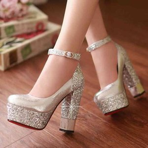 New Top Quality Large Size 32-42 Bling Upper Pumps Shoes Women High Heels Sexy Party Wedding Bride Shoes Woman 210330