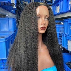 Straight Coarse U Part Wig 250% High Density Hu Brazilian Virgin Hair Upart Kinky Wigs For Black Wo Dolago