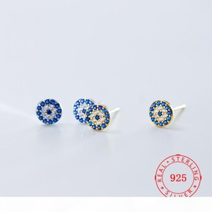 100% pure 925 sterling silver guangzhou jewelry high quality blue evil eye design stud earrings Turkey gold plated earring