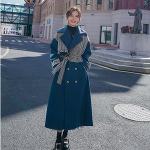 Women's Wool & Blends Winter Vintage Casual Coat Women Fashion Blue Turn-Down Collar Long Slim Overcoat And Jackets Ladies Thick Warm Y194