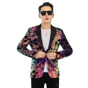 Men Flipping Sequins Pink Suit Jackets Glittering Paillette Blazers Coat Nightclub Singer Vocal Concert Stage Costume Host Show Men's Suits