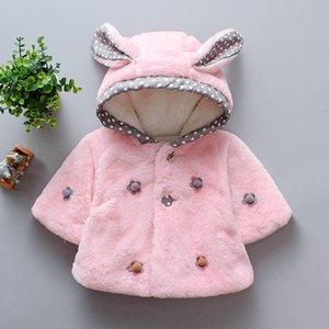Winter baby plus velvet padded cotton coat Fashion fluffy cartoon 3D rabbit ears girls hoodie warm cashmere children's clothing