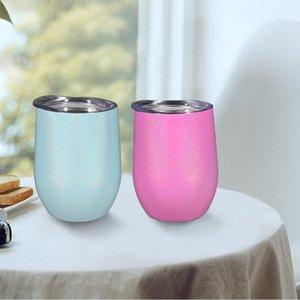 12oz Stainless Steel Drinkware Mini Cup Mugs Egg Shape Cups Wine Glasses Vacuum Water Bottle ZWL243