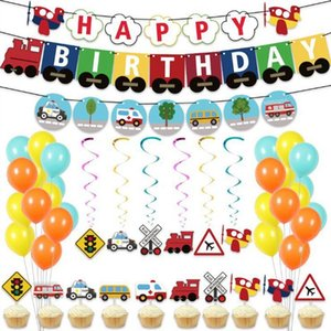 Transportation Cars Theme Balloons Set Happy Birthday Banner Garland Train School Bus Fire Cake Toppers Baby Party Favor