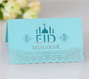 Eid Mubarak Party Table Card 100pcs lot Ramadan Paper Hollow Out Wedding Festival Seat Cards Muslim Islamic Supplies ZZE5695