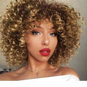 Afro Wigs For Black Women Short Kinky Curly Full Wigs Brown Mixed Blonde Synthetic Heat Resistant Wigs For African Women With Wig Cap