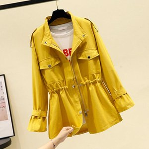 Women's Trench Coats Short Windbreaker Coat 2021 Spring Autumn Korean Loose Stand Collar Tooling Jacket Ladies British Tops Y07
