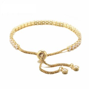 Woman Adjustable Tennis Bracelet Gold Plated 925 Sterling Silver Sparkling Cubic Zirconia Classic Chain Bracelets for Ladies Girls Size 10.2""