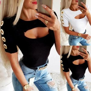 Harajuku Woman Tshirts Sexy T-Shirt Casual O-Neck Solid Hort Sleeve Out Shirts Metal Ring Oversized Top Plus Size Vintage Women's