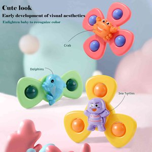 Spinning Top Baby Sucker Top Toy 3PCS Creative Bath Swimming Water Toys Sucker Suction Cup Funny Game Baby Classic Windmill New L0323