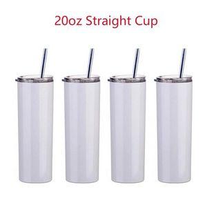 US Stock 20oz sublimation Mug straight tumblers blanks white Stainless Steel Vacuum Insulated Slim DIY 20 oz Cup Car Coffee Mugs
