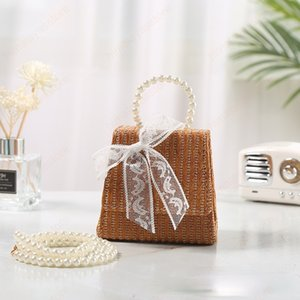 Children's Mini Handbag Totes 2021 Summer Straw Crossbody Bags for Kids Small Lace Coin Pouch Baby Girls Rattan Purse