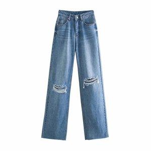 Bbwm mulher jeans cintura alta roupas denim roupas azul rua vintage 2021 moda buraco harajuku calças retas