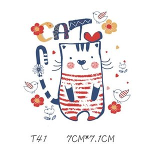 Kid Patches Lovely Cartoon Cat Sticker Cartoon DIY Stickers For T shirt Funny Iron-on Transfers Patches For Clothes