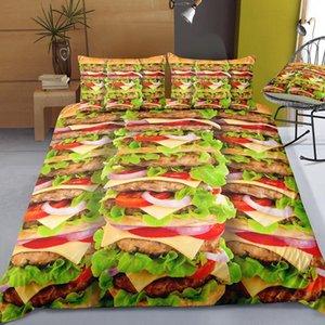 Bedding Set Duvet Cover Polyester Hamburger Fries Bed Linen Comfortable Sets Bedclothes Soft Pillowcase