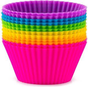 Strumenti di tazze da forno in silicone, riutilizzabili fodera cupcake fodera antiaderente tazza di muffin stampi per torta set detentore di cupcakes standard