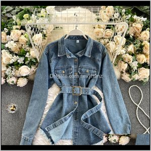 Blouses & Shirts Clothing Apparel Drop Delivery 2021 Womens Designers Clothes Casual Belted Waist Medium Long Denim Shirt Women All-Match Poc