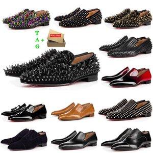 Мужские красные днища обувь дизайнер с низкой плоской заклепками вышивка мужчина бизнес банкетное платье обувь роскошный патентный замшевый стилист шипы подлинные