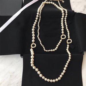 VIP شعبية الأزياء ماركة لؤلؤة سترة سلسلة مصمم قلادة للنساء حزب الزفاف المجوهرات الفاخرة للعروس مع مربع