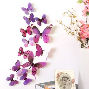 12pcs 3D Decal Colourful Butterflies Wall Stickers Home Room Decoration Kids DIY 603 S2