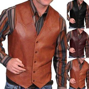 Men's Vests Men Leather Jacket Vest Vintage Cowboy Waistcoat Autumn Sleeveless Solid Colour Faux Fashion Mens Plus Size