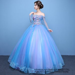 Quinceanera Dresses 2021 Sexy Bateau Long Sleeve Princess Appliques Flowers Party Prom Formal Lace Up Tulle Ball Gown Vestidos De 15 Anos Q47