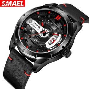 Reloje 2021 Smael Erkekler İzle Erkek Deri Otomatik Tarih Kuvars Saatler Erkek Su Geçirmez Spor Saati Relogio Masculin Saati Saatı