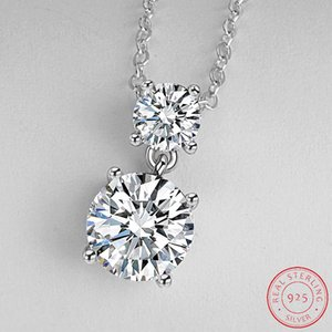Luxury Round Solid 925 Sterling Silver Necklace Pendants For Women Lady Anniversary Gift Jewelry Wholesale XD127