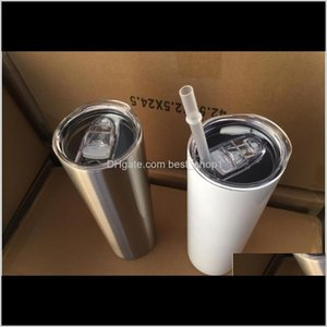 Drinkware Kitchen Dining Bar Home Garden Drop Delivery 2021 20Oz Skinny Tumblers Blank Sublimation Slim Cup Coffee Lid And St Beer Mugs With