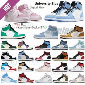 Jumpman Silver Toe 1 1s Hommes Chaussures de basketball Dark Moka Bannée Shadow Unc Patent Université Royal Blue Lumière Fumée Gris Retro Chicago Twist Sports Sneakers M1YO #