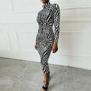 Fashion Women's Zebra Striped Print Dress Fall Long Sleeve Stand Collar Midi Tummy Control Zipper Clothes Outfits Casual Dresses