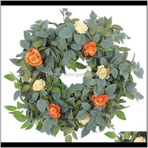 Decorative Flowers & Wreaths Artificial Spring Summer Wreath For Front Door Wall Window Wedding Party Garden Farmhouse Home Decor 4Uxx Nzyep