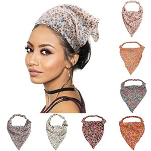 Pastoral Style Floral Print Scrunchies Women Triangle Bandanas Summer Elastic Hairbands Hair Scarfs Hair Accessories