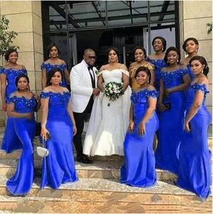 2021 Robe d'honneur Royal Blue Mermaid Robes de demoiselle d'honneur avec appliques Perles Vestidos Longtemps épaule Epaule Mariage Formel Robe Gobane
