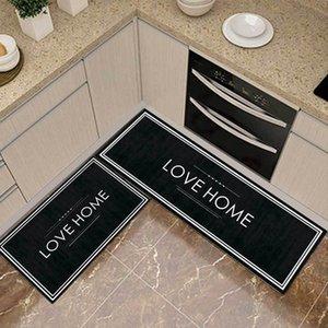 Modern Sliplism Style Kitchen Mat Anti-Slip Long Bedroom Living Room Love Home Striped Pattern Bathroom Entrance Doormat Carpets